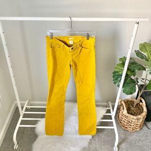 J. Crew gold corduroy matchstick pants